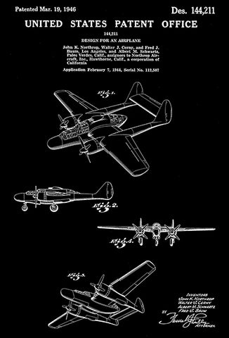 1946 - Northrop P-61 Black Widow Night Fighter Airplane - Patent Art Poster