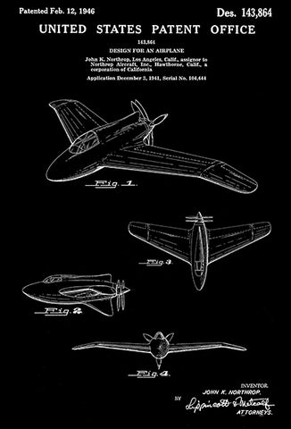 "1946 - Northrop XP-56 ""Black Bullet"" Airplane - Patent Art Poster"