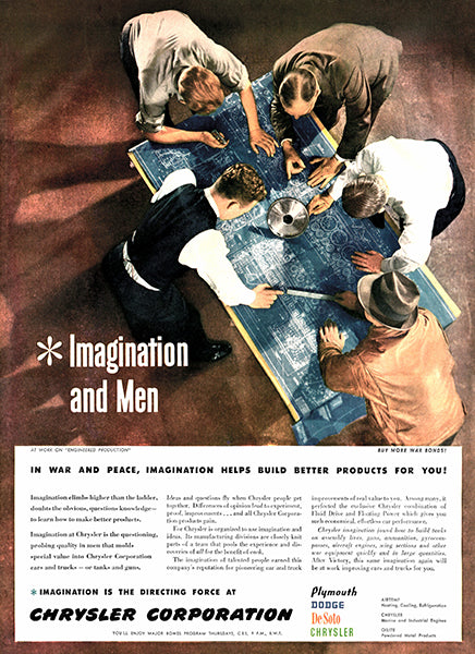 1946 Chrysler Corporation - Imagination & Men - Promotional Advertising Poster