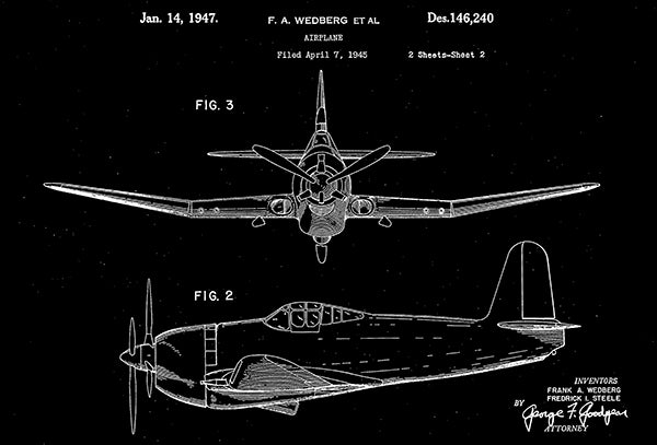 1947 - Airplane #2 - F. A. Wedberg - Patent Art Poster