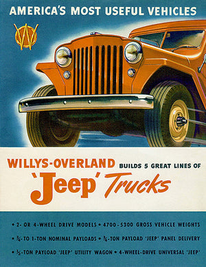 1947 Willys - Overland - Jeep Trucks - Promotional Advertising Poster