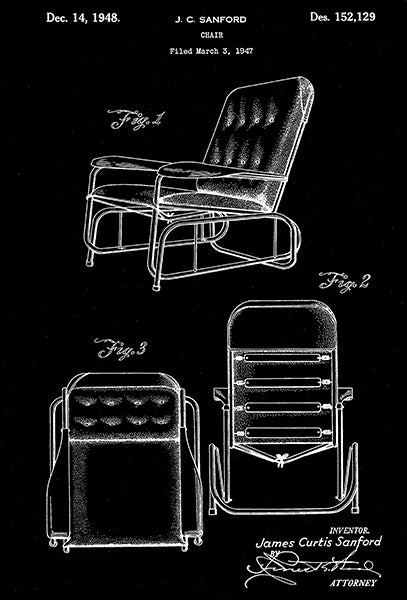 1948 - Chair - J. C. Sanford - Patent Art Poster