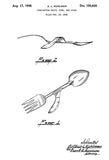 1948 - Combination Knife, Fork, And Spoon - A. L. Kuhlman - Patent Art Poster