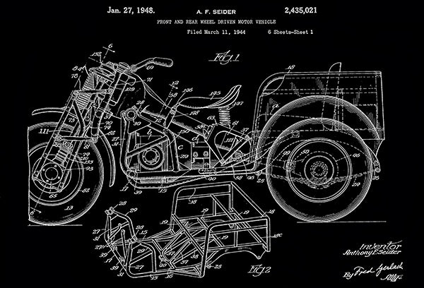 1948 - Front and Rear Wheel Driven Motor Vehicles #2 - Indian - A. F. Seider - Patent Art Poster