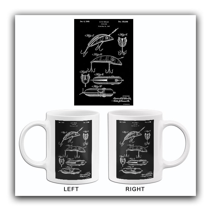 1949 - Fish Lure - R. W. Wells - Patent Art Mug