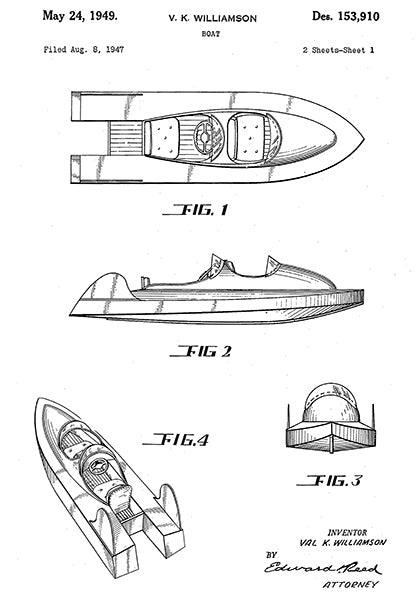 1949 - Boat - V. K. Williamson - Patent Art Poster