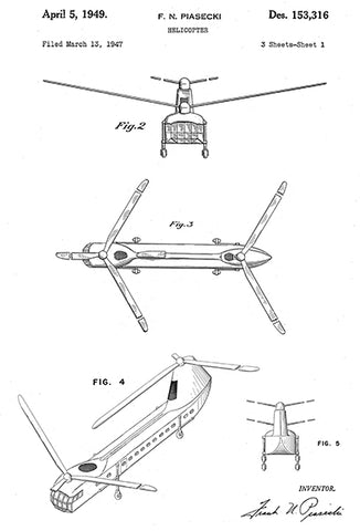 1949 - Helicopter #3 - F  N  Piasecki - Patent Art Poster