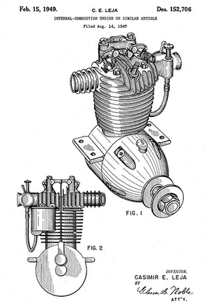 1949 - Internal Combustion Engine - C. E. Leja - Patent Art Poster