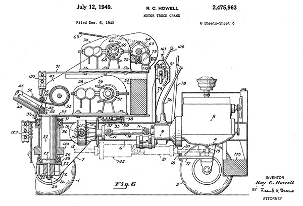 1949 - Motor Truck Crane - Side View - R. C. Howell - Patent Art Poster