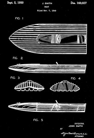 1950 - Boat - J. Smith - Patent Art Poster