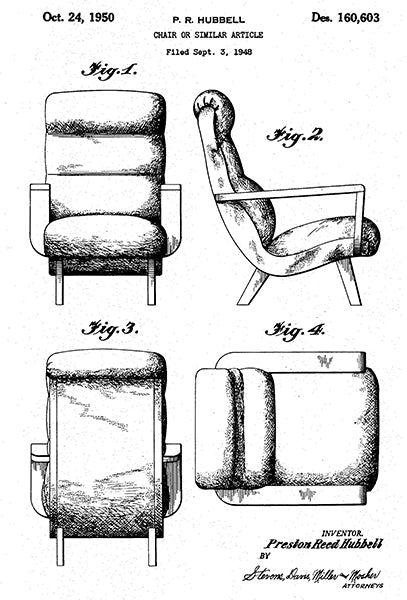 1950 - Chair - P. R. Hubbell - Patent Art Poster