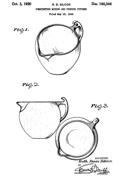 1950 - Mixing & Pouring Pitcher - R. D. Silcox - Patent Art Poster