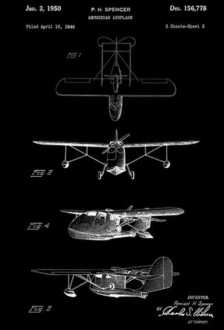 1950 - Republic Aviation Amphibian Airplane - P. H. Spencer - Patent Art Poster