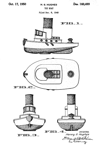 1950 - Toy Boat - Ship - Nautical - H. S. Hughes - Patent Art Poster