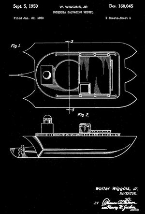 1950 - Undersea Salvaging Vessel - W. Wiggins Jr. - Patent Art Poster
