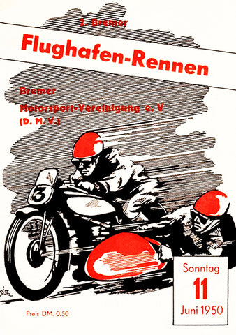 1950 Flughafen Motorcycle Race - Bremen - Program Cover Poster