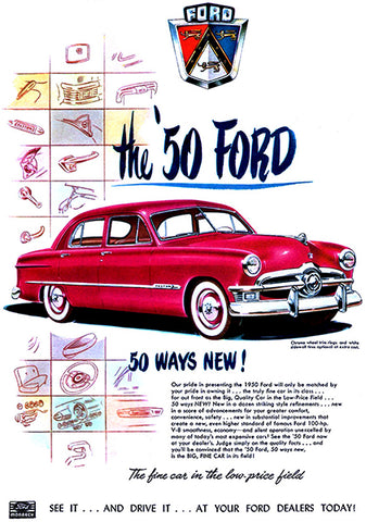 1950 Ford - 50 Ways New! - Promotional Advertising Poster