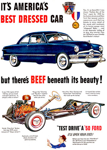 1950 Ford - Beef Beneath It's Beauty - Promotional Advertising Poster