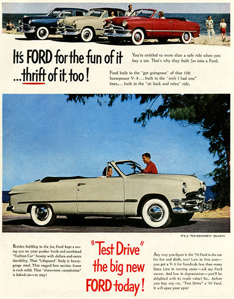 1950 Ford - It's Ford For The Fun Of It - Promotional Advertising Poster