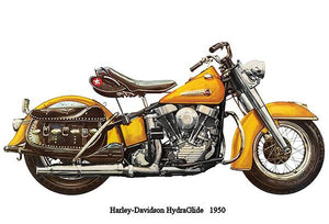 1950 Harley-Davidson HydraGlide - Promotional Advertising Magnet