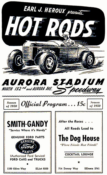 1950 Hot Rod Races - Aurora Stadium Speedway - Program Cover Poster