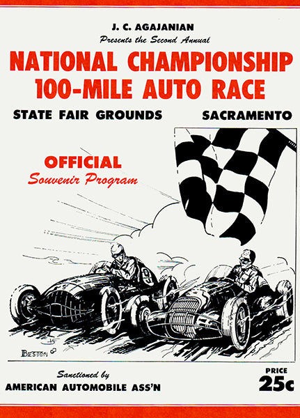 1950 National Championship 100 Mile Auto Race - Sacramento CA - Program Cover Poster
