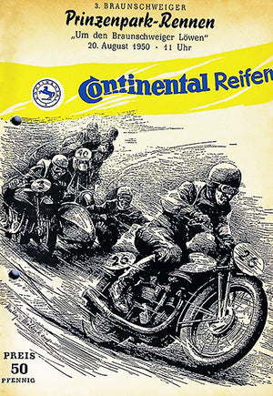 1950 Prinzenpark Motorcycle Race - Braunschweig - Program Cover Poster
