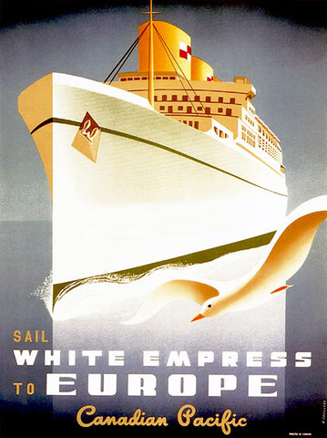 1950 - Sail White Empress to Europe - Travel Advertising Poster
