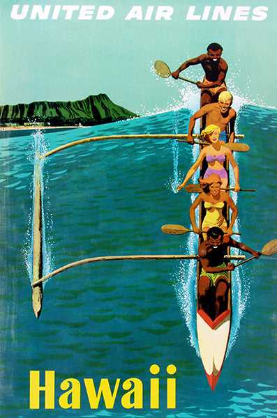1950's Hawaii - United Air Lines - Travel Poster
