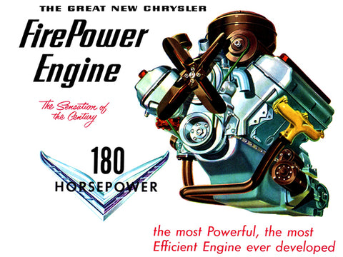 1951 Chrysler Fire Power Engine - 180 HP - Promotional Advertising Poster