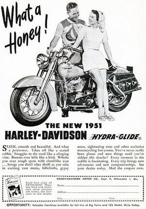 1951 Harley-Davidson Hydra-Glide - Promotional Advertising Magnet
