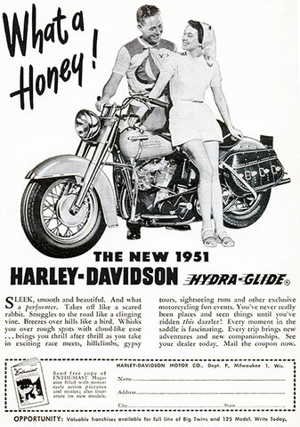 1951 Harley-Davidson Hydra-Glide - Promotional Advertising Poster