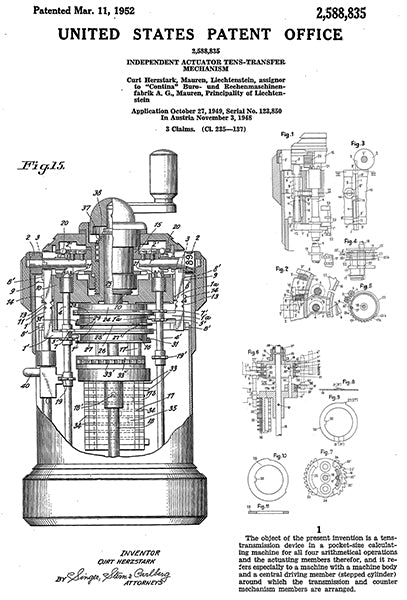 1952 - Curta Pocket Mechanical Calculator - C. Herzstark - Patent Art Poster