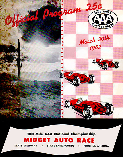 1952 100 Mile Midget Auto Race - Arizona Speedway - Program Cover Poster