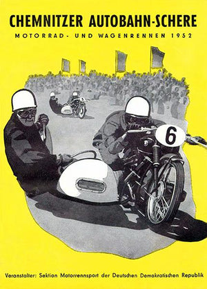 1952 Chemnitzer Autobahn-Schere Motorcycle Races - Program Cover Magnet