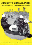 1952 Chemnitzer Autobahn-Schere Motorcycle Races - Program Cover Poster
