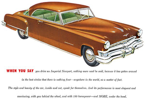 1952 Chrysler Imperial Newport - Promotional Advertising Poster