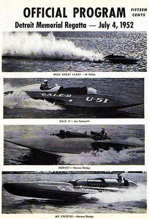 1952 Detroit Memorial Regatta Boat Race - Promotional Advertising Magnet
