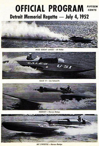 1952 Detroit Memorial Regatta Boat Race - Promotional Advertising Poster