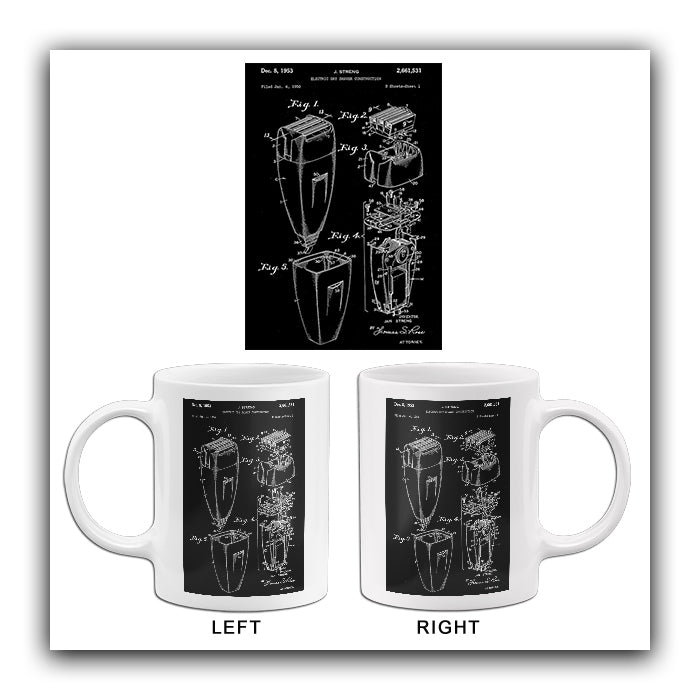 1953 - Electric Shaver - Bathroom - J. Streng - Patent Art Mug