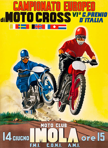 1953 European Motocross Championship - Promotional Advertising Poster