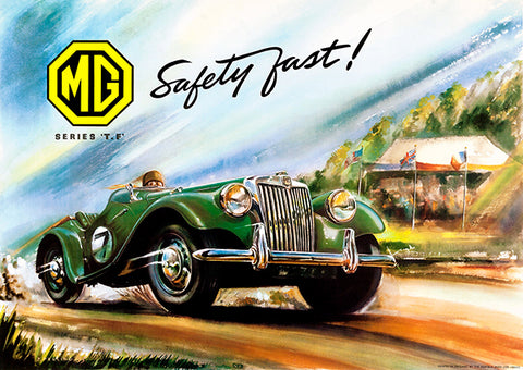 1953 MG - Safety Fast! - Promotional Advertising Poster
