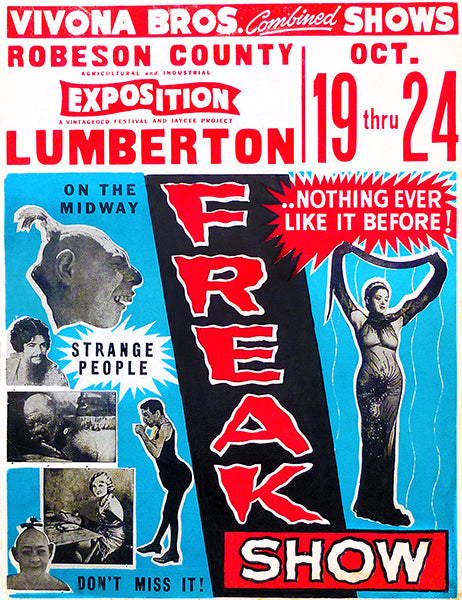 1953 Vivona Brothers Combined Show - Freak Show - Advertising Poster