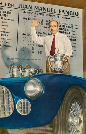 1954 Juan Manuel Fangio & Ferrari - Promotional Advertising Poster