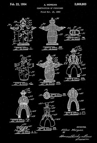 1954 - Figurines - A. Morgan - Wyandotte - All Metal Products - Patent Art Poster