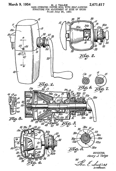 1954 - Hand Operated Coffee Mill - H. J. Talge - Patent Art Poster