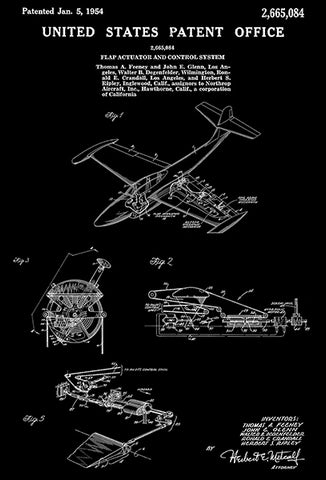 1954 - Northrop F-89 Scorpion Fighter Airplane - Flap Actuator And Control System - Patent Art Poster