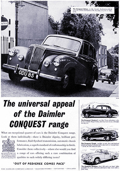 1954 Daimler Conquest - Promotional Advertising Poster