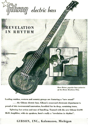 1955 Gibson EB-1 Electric Bass Guitar - Promotional Advertising Poster