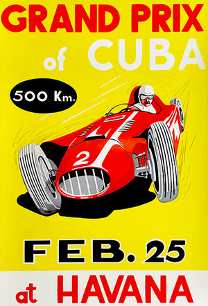 1957 Grand Prix Of Cuba Automobile Race - Havana - Promotional Advertising Poster
